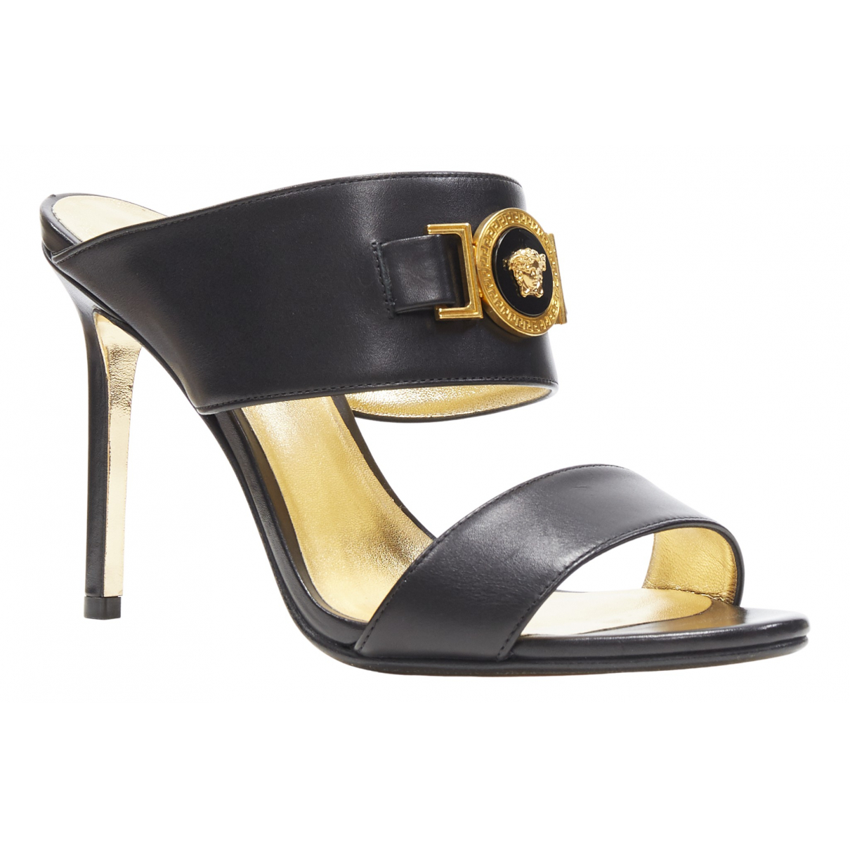 Versace N Black Leather Sandals for Women 37 EU