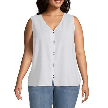 a.n.a Plus Womens V Neck Sleeveless Tank Top, 3x , White
