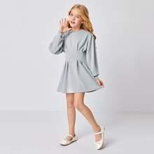 Girls Puff Sleeve Fold Pleated Dress
