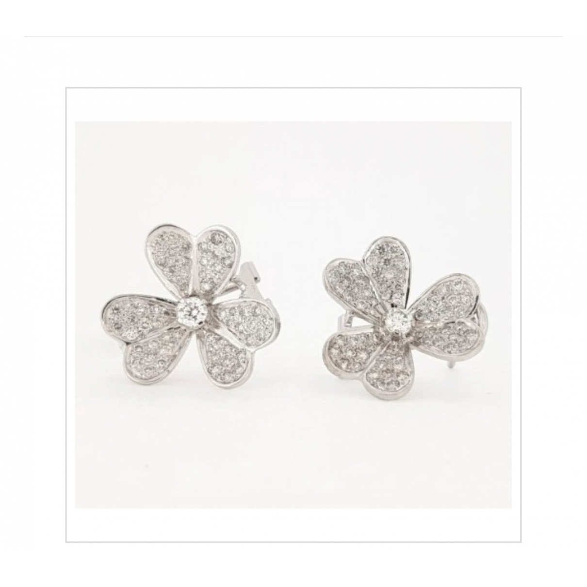 Non Signe / Unsigned Motifs Floraux OhrRing in  Weiss Weissgold