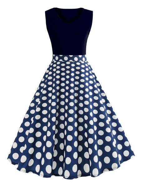 Milanoo Women Vintage Dress V Neck Sleeveless Polka Dot Royal Blue Summer Swing Dress