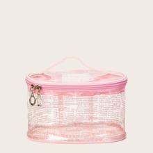 Bolsa de maquillaje transparente con estampado de letra
