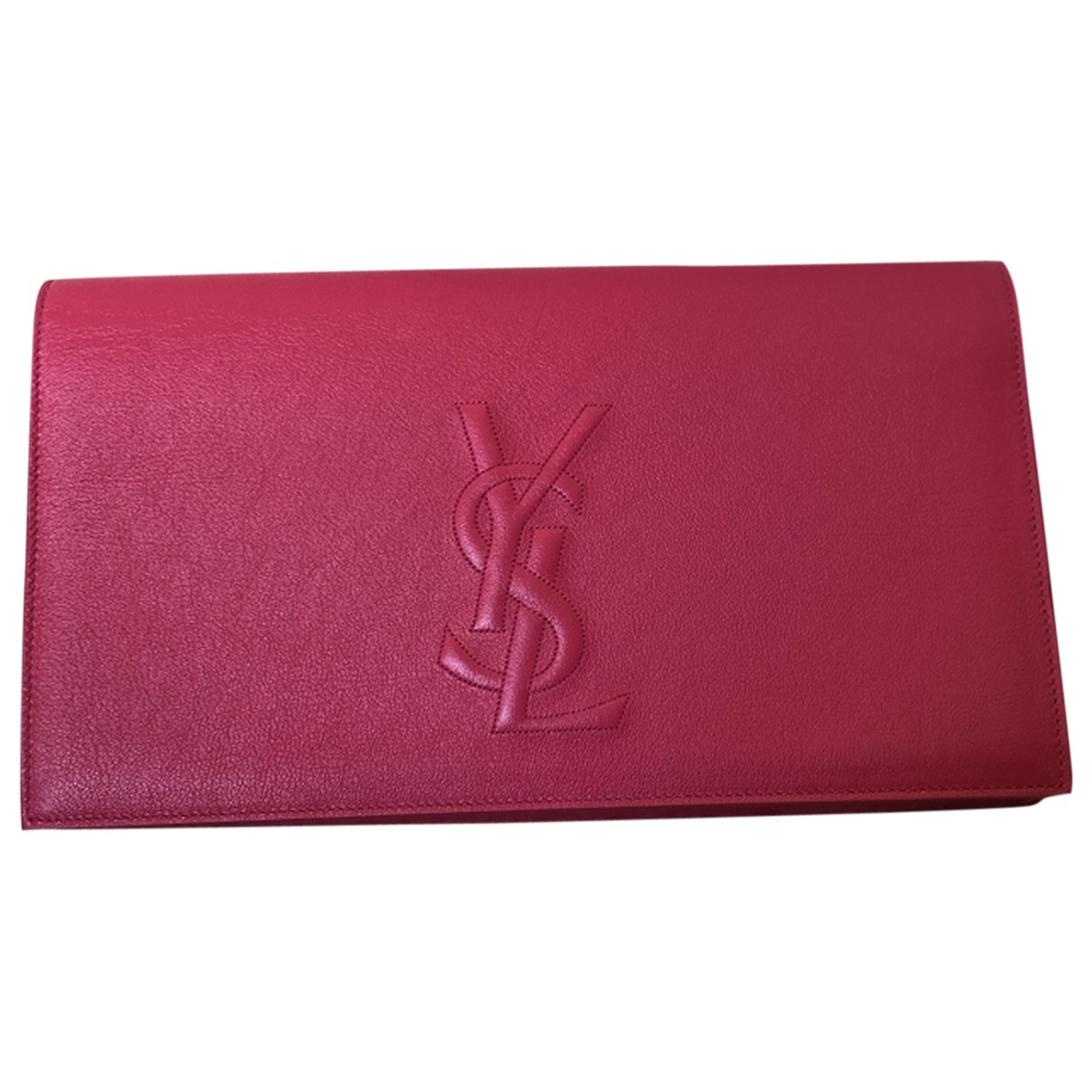 Saint Laurent Kate monogramme Pink Patent leather Clutch bag for Women N