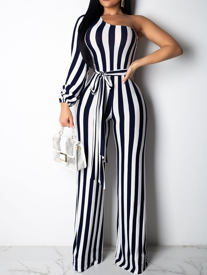 Ericdress Stripe Lace-Up Full Length Slim Mid Waist Jumpsuit