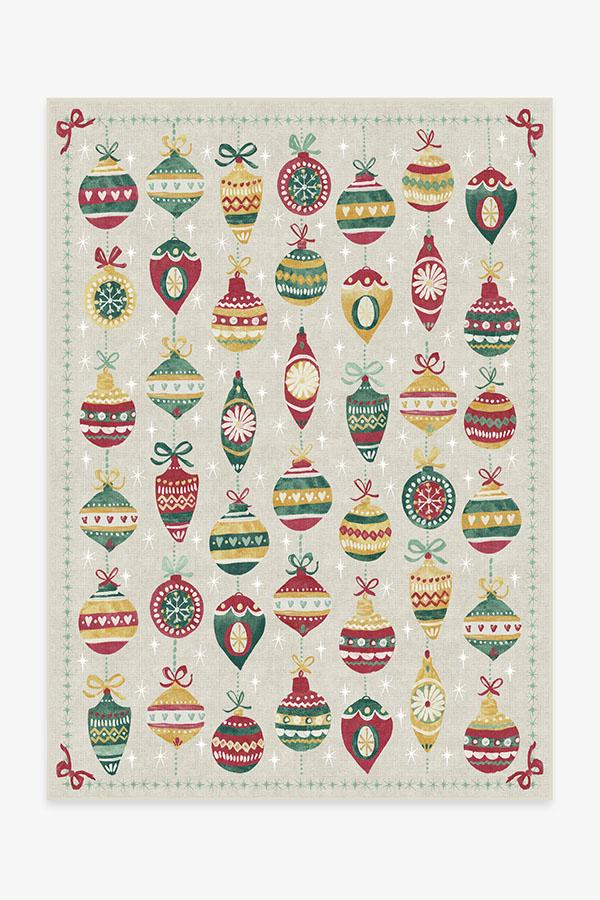 Washable Rug Cover | Festive Garland Holiday Shortbread Rug | Stain-Resistant | Ruggable | 5'x7'