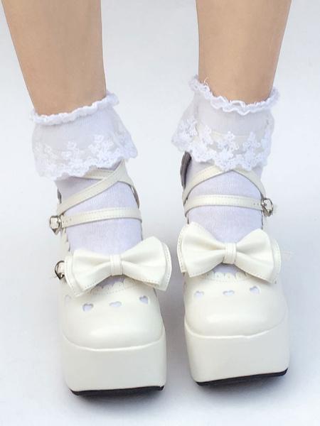 Milanoo Sweet Lolita Shoes White Bow Round Toe Platform Straps Lolita Pumps