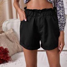 Shorts mit Papiertaschen auf Taille und gerolltem Saum