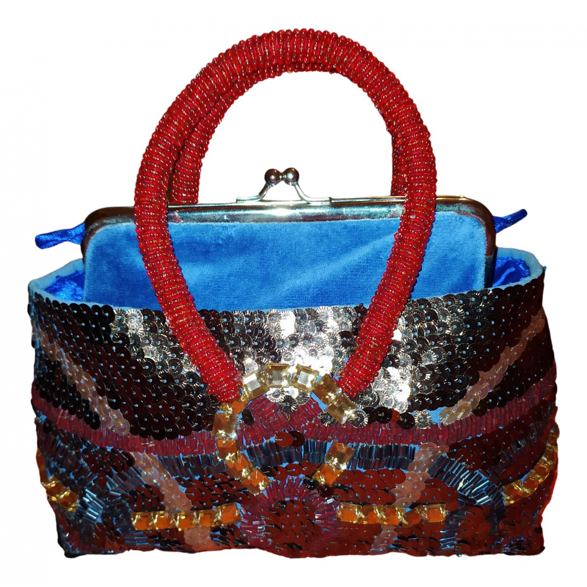 Maliparmi - Sac a main   pour femme en coton - bleu