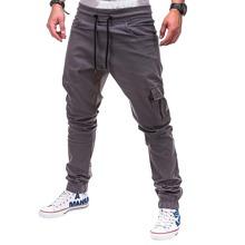 Men Flap Pocket Drawstring Cargo Pants