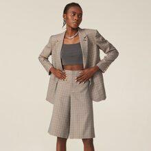 Blazer mit eingekerbtem Kragen, Knopfen vorn, Taschen Flicken und Karo Muster