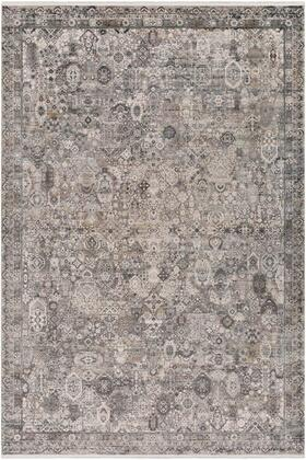 SOR2313-576 5 x 7 6 Rug  in Medium Gray and Light Gray and Ivory and Charcoal and Black and