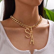 1pc Letter Charm Chain Necklace