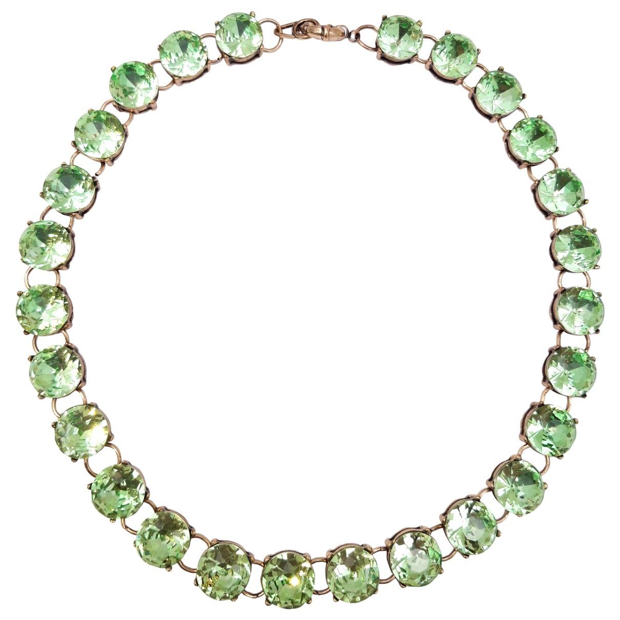 - Collier Art Deco pour femme en cristal - vert