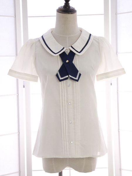 Milanoo White Bow Tie Ruched Cotton Lolita Shirt for Women