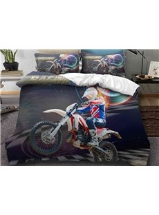 Unfade Cool Man With Scooter Printed 3-Piece Phyester Bedding Sets