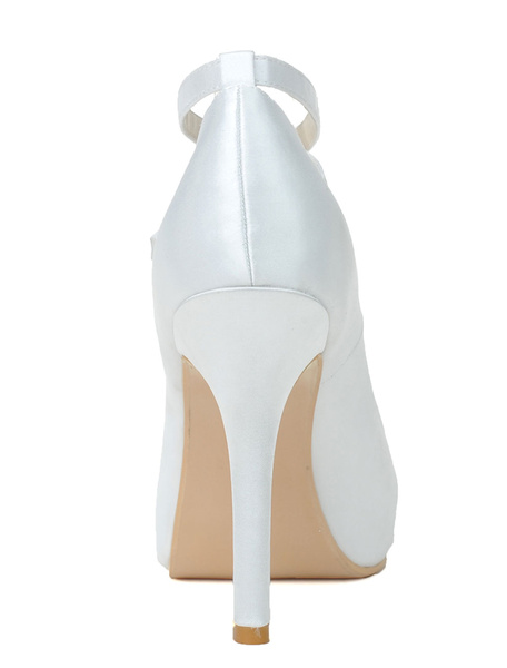 Milanoo Round Toe Satin Pumps For Bride