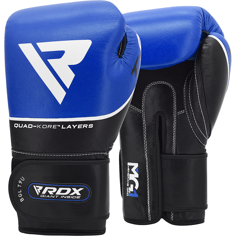 RDX T9 Leather Blue 14oz Boxing Training Gloves Black Hook and Loop Men and Women Punching Muay Thai Kickboxing