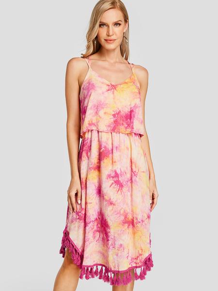 YOINS Tie Dye Tassel Hem Double Layer Midi Rayon Dress