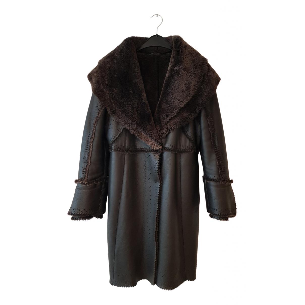 Ermanno Scervino - Manteau   pour femme en cuir - noir