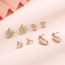 4 Paare Ohrringe mit Muschel Anhaenger