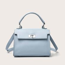 Minimalist Turn-Lock Flap Satchel Bag