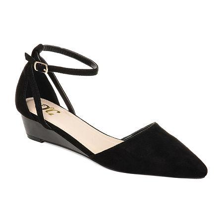 Journee Collection Womens Arkie Pumps Buckle Pointed Toe Wedge Heel, 6 1/2 Medium, Black