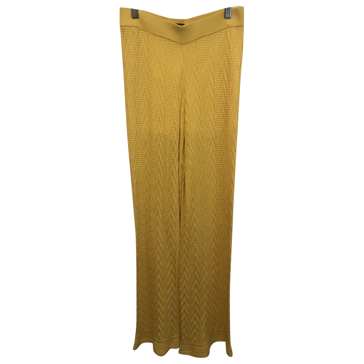 M Missoni \N Yellow Cotton Trousers for Women 40 IT