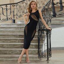 Sesidy rueckenfreies Bandage Kleid mit transparentem Netzstoff Einsatz