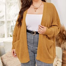 Plus Open Front Double Pocket Cardigan
