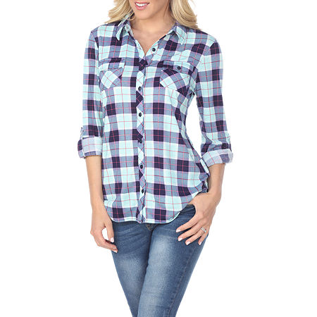 White Mark Oakley Plaid Womens Long Sleeve Button-Down Shirt, Large , Green