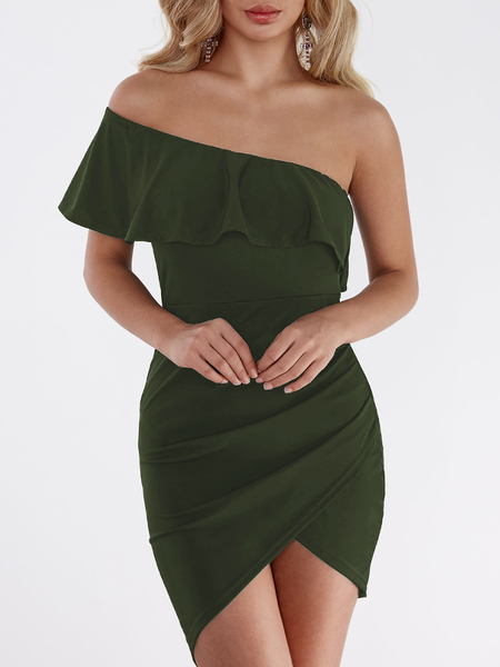 Yoins One Shoulder Asymmetrical Bodycon Mini Dress in Army Green