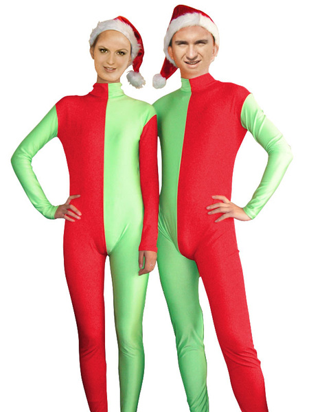 Milanoo Disfraz Halloween Roja y de la pareja de Navidad Verde Zentai Trajes Halloween