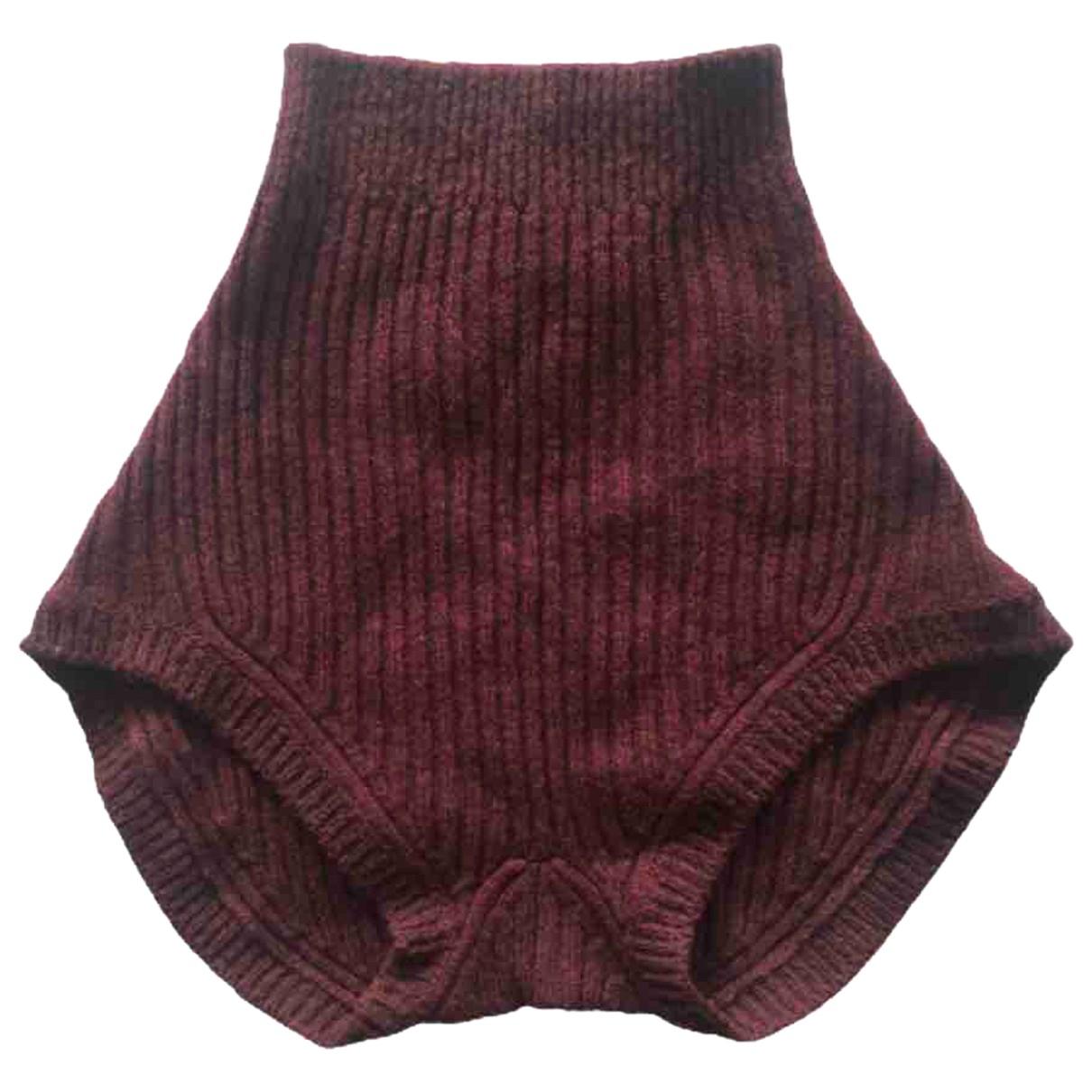 Prada \N Shorts in  Bordeauxrot Wolle