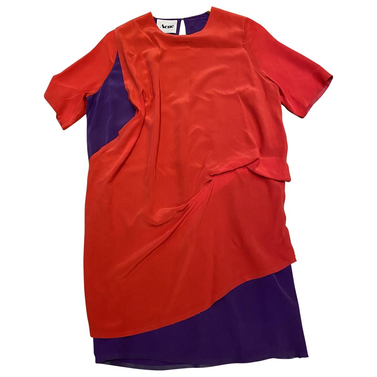 Acne Studios \N Red Silk dress for Women 38 FR