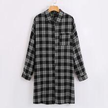 Hemdkleid mit Karo Muster und Knopfen vorn