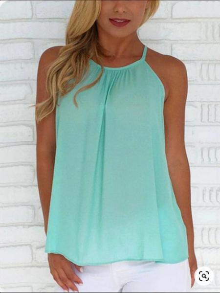 Yoins Green Pleated Design Halter Sleeveless Cami