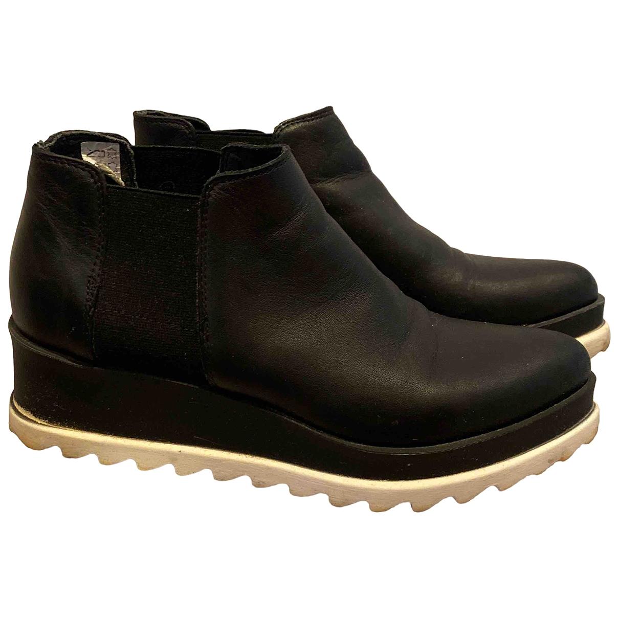 Ovye \N Stiefel in  Schwarz Leder