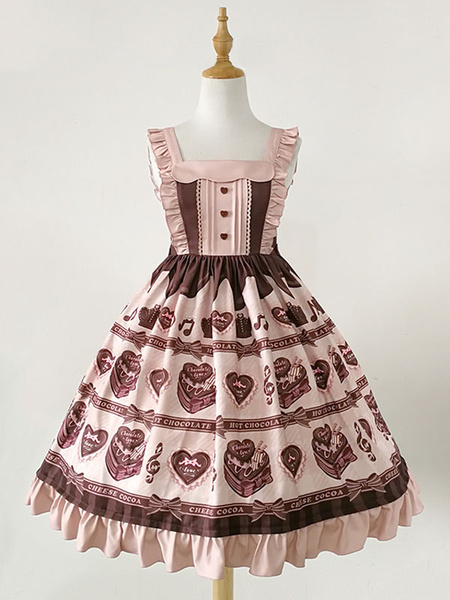 Milanoo Sweet Lolita JSK Dress Chocolate Love Song Print Ruffle Pink Lolita Jumper Skirt
