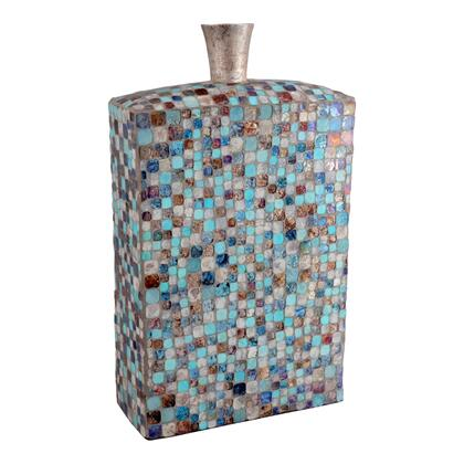 Azul Collection IX-1078-28 Vase with Iron Frame in Blue