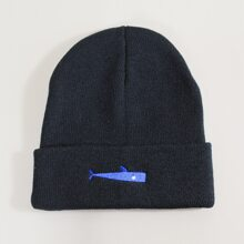 Guys Whale Embroidery Knit Beanie