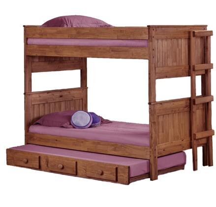 312003-450-T Twin Over Twin Stackable Bunk Bed with Trundle Mahogany