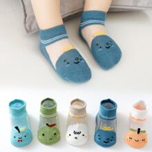 5 Paare Baby Socken mit Karikatur Grafik
