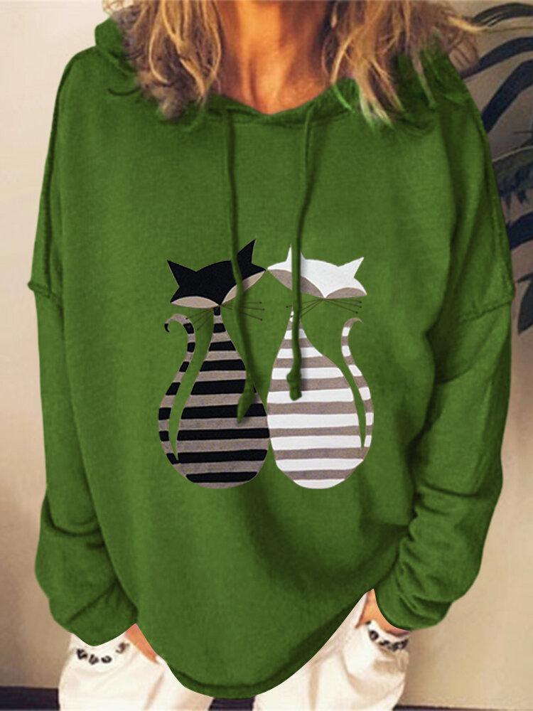 Cute Cat Printed Long Sleeve Plus Size Pullover Hoodie