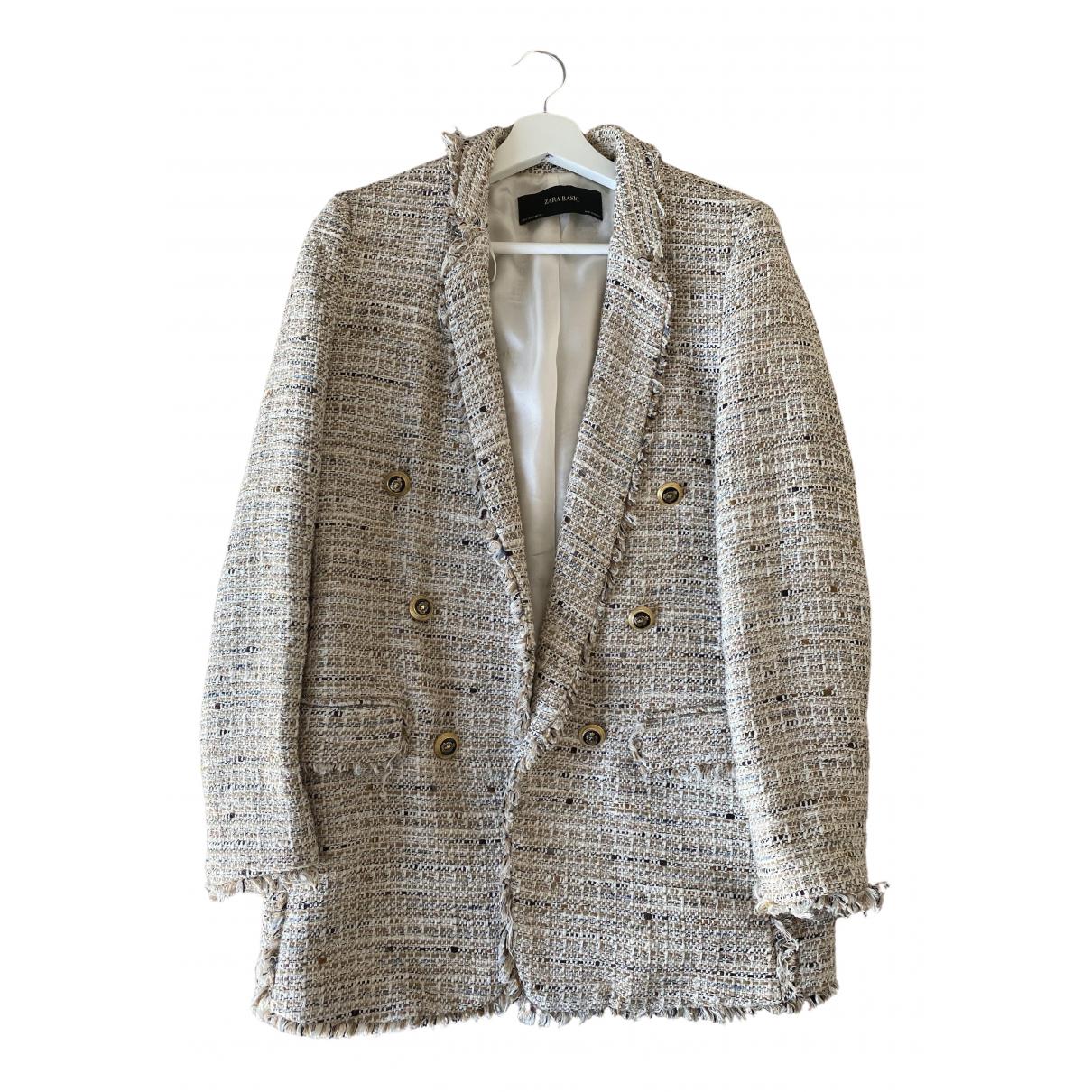 Zara - Veste   pour femme en coton - beige