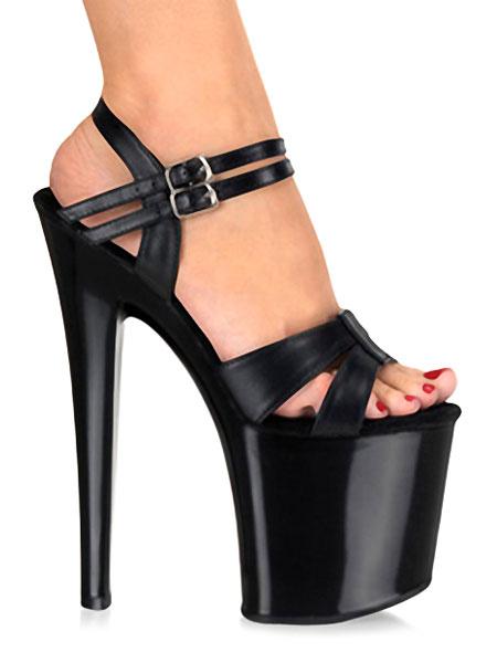 Milanoo Black Sexy Shoes Women High Heel Sandals Open Toe Buckle Detail Stiletto Platform Heels