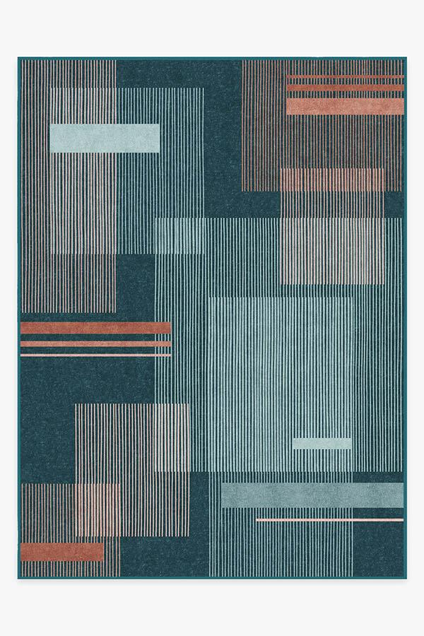 Washable Rug Cover   Quadra Teal Rug   Stain-Resistant   Ruggable   9x12