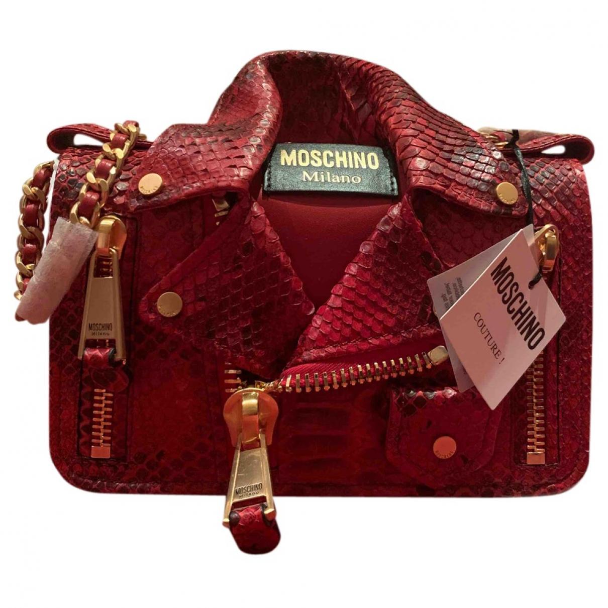 Moschino Biker Handtasche in  Rot Leder