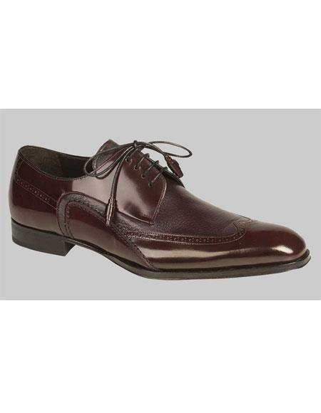 Men's Lace Up Burgundy Italian Style Wingtip Leather Shoes Brand