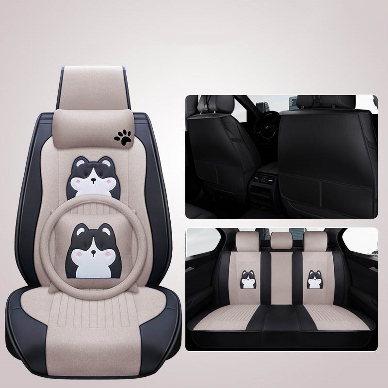 Comfortable And Breathable Cotton And Linen Fabric, Cute Cartoon Husky Dog Pattern Design,All Seasons Universal Fit Seat Covers