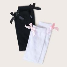 2pairs Toddler Girls Bow Decor Socks